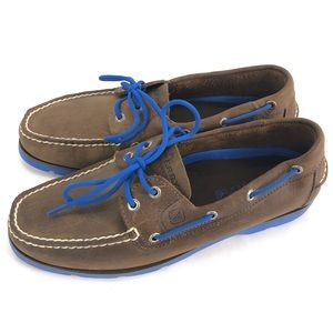 Sperry Top-Sider Leather Blue Lace Soles Boat Shoe